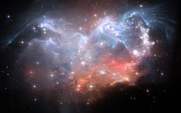 Space background with nebula and stars. 3D illustration Royalty Free Stock Image