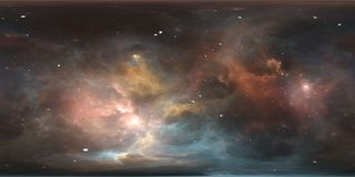 Space background with nebula and stars. Panorama, environment 360 HDRI map. Equirectangular projection, spherical panorama. Stock Images