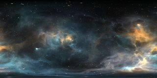 Space background with nebula and stars. Panorama, environment 360 HDRI map. Equirectangular projection, spherical panorama. Royalty Free Stock Photo