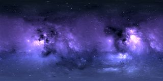 Space background with nebula and stars. Panorama, environment 360 HDRI map. Equirectangular projection, spherical panorama. 3d illustration royalty free illustration