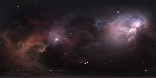 Space background with nebula and stars. Panorama, environment 360 HDRI map. Equirectangular projection, spherical panorama. Stock Photos