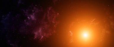 Space background. Space background with orange nebula and stars Stock Photo