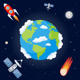 Space Background with Planet Earth. Planet Earth, the Moon, a rocket, a comet and two satellites orbiting on a dark blue outer space background with bright stars Royalty Free Stock Photo