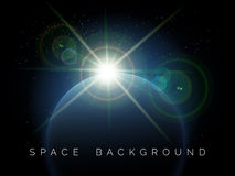 Space background with planet and shining star Royalty Free Stock Photos