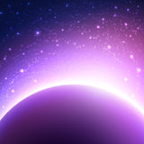 Space background with planet and shining sun. Vector illustration of starry sky Stock Photography