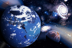 Space background with planet and stars Royalty Free Stock Photos