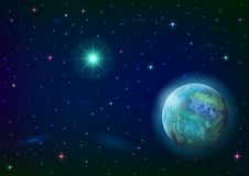 Space background with planet and sun. Fantastic space background with unexplored blue planet, green sun, stars and nebulas. Elements of this image furnished by Royalty Free Stock Photography