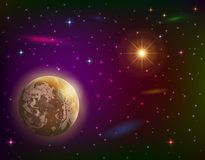 Space background with planet and sun. Fantastic space background with unexplored planet, orange sun, stars and nebulas. Vector eps10, contains transparencies Stock Images