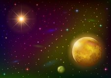 Space background with planet and sun. Fantastic space background with unexplored yellow planet, satellite, sun, stars and nebulas. Elements of this image Stock Photography