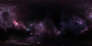 Space background with purple nebula and stars. Panorama, environment 360 HDRI map. Equirectangular projection, spherical panorama. 3d illustration Royalty Free Stock Photography