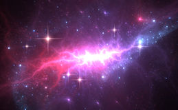 Space background with purple nebula and stars Stock Image