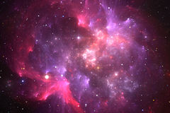 Space background with purple ring nebula and stars Stock Photography