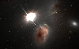 Space background with quasar and stars Stock Photos