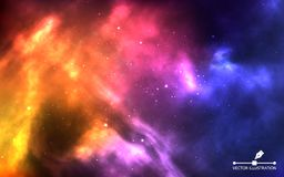 Space background. Realistic color cosmos with nebula and bright stars. Colorful galaxy and stardust. Starry sky concept. Futuristic backdrop for poster, banner royalty free illustration