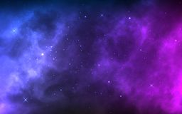 Space background with realistic nebula and shining stars. Colorful cosmos with stardust and milky way. Magic color