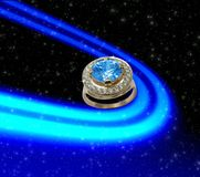 Space background with  sapphire ring Stock Photos
