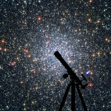 Space background with silhouette of telescope. Globular cluster. 47 Tucanae, NGC 104 in the constellation Tucana Elements of this image are furnished by NASA stock photography