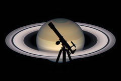 Space background with silhouette of telescope. Saturn planet Royalty Free Stock Images