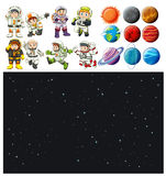 Space background and spaceman set