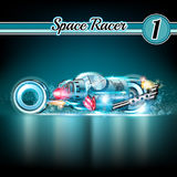 Space background with sport concept car with robot Stock Photos