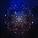 Space background with stars and sacred geometry pattern, flower of life Royalty Free Stock Photos
