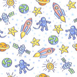 Space background. Space theme. Vector seamless pattern Stock Image