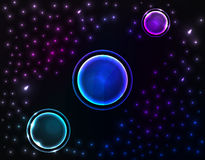 Space background with three planet. Vector illustration, EPS 10 Royalty Free Stock Photo