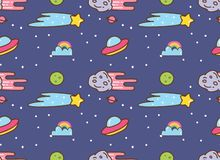 Space background with ufo, star and meteor in kawaii style background stock illustration