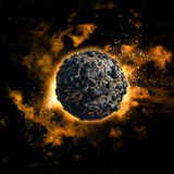 Space background with volcanic planet Royalty Free Stock Photo