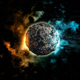 Space background with volcanic planet vector illustration
