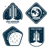 Space badges with astronaut helmet, rocket launch and moon. Set of vintage astronaut label Royalty Free Stock Images