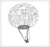 Space Baloon Doodle. Space Baloon with Robots On in Vector Stock Photography