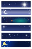 Space banners. 6 Different banners with stars, moon and planets Royalty Free Stock Image