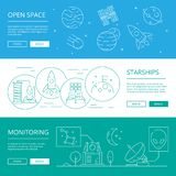 Space banners. World univerce discovery moon planets rocket and astronauts with alien satelite vector compositions vector illustration