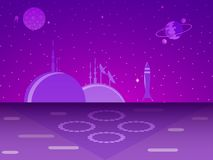 Space base on the planet. Colonization. Futurism. Vector. Space base on the planet. Colonization. Futurism. Violet color. Vector illustration Royalty Free Stock Photos