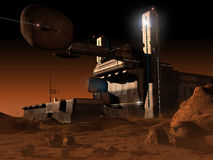 Space base on planet  Mars Royalty Free Stock Image