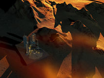 Space base on planet  Mars Royalty Free Stock Photos