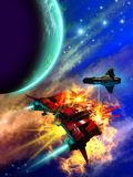 Space battle around an alien planet, 3d illustration. Space battle around an alien big planet, 3d illustration, 3d render for book cover, advertising, web site vector illustration