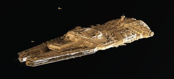 Space Battle Cruiser From Above Stock Images