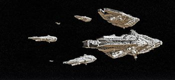 Space Battle Fleet. Battle fleet of giant space cruisers and small scout ships, 3d digitally rendered illustration Royalty Free Stock Photography
