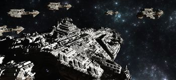 Space Battle Fleet Deployment. Battle fleet of giant space cruisers and small scout ships, 3d digitally rendered illustration Stock Images