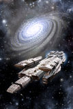 Space Battleship Spaceship and Galaxy Stock Image