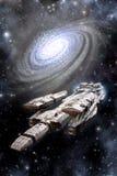 Space Battleship Spaceship and Galaxy Stock Image