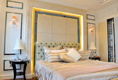 Space of bedroom interior. Home furnitrue interior and fine decoration in bedroom, shown as lighting and simple but comfortable living environment Royalty Free Stock Photos