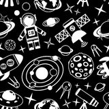 Space black and white seamless pattern Stock Image