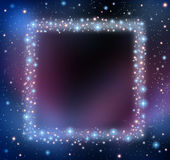 Space Blank Frame. As a night sky with a group of stars and planets as a shinning cosmic constellation with empty copy area for text as an astrology or Royalty Free Stock Photography