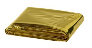 Space blanket. Reflective space blanket on white background Stock Photo