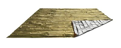 Space blanket. Reflective space blanket on white background Royalty Free Stock Photo