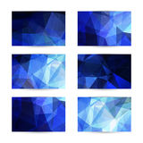 Space blue cards with polygonal pattern Stock Photos
