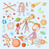 Space boy set, hand drawn vector illustration Stock Images